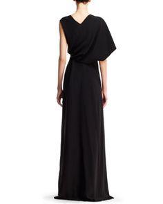 W044M Balenciaga Asymmetric-Sleeve Drape Gown