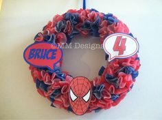 Spider-Man cupcake wreath.  Great impact!