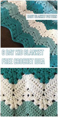 6 Day Kid Baby Blanket Pattern - Free Crochet 6 Day blanket Idea and crochet pattern #FreeCrochetPatterns #crochet #BabyBlanket #handmade #homedecor #yarn #stitch #6daykidblanket #crochetlove