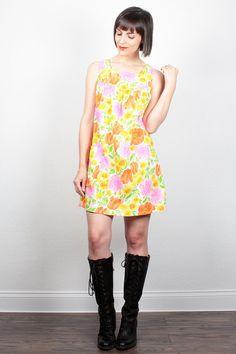 Vintage 70s Dress Mini Dress Bright Floral Print Smock Dress 1970s Dress Pink Orange Yellow Sundress Tent Dress Hippie Dress M Medium Large by ShopTwitchVintage  #vintage #etsy #70s #1970s #dress #minidress #sundress #hippie #floral