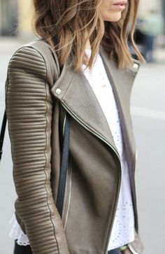 #street #style / olive + leather