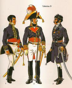 Spain; General Officers, L to R Lieuntenant General 1811, Mariscal de Campo upto 1809 & Brigadier in Undress uniform(uniforme de diario) with Coat 1808