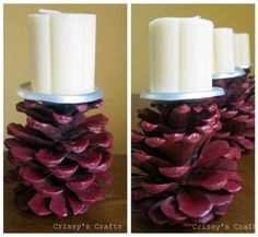 [how to make pine cone candle holders]    Project estimate:    Pine cones, on hand  Soda can bottoms, on hand  Spray paint, on hand or $1 and up  Hot glue, on hand  Candle, on hand or $1