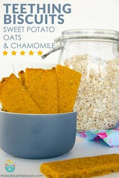 Teething biscuits made with sweet potato oats and chamomile a healthy baby rusks recipe, homemade