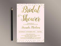 Bridal Shower Invitation Gold confetti Bridal Shower invite
