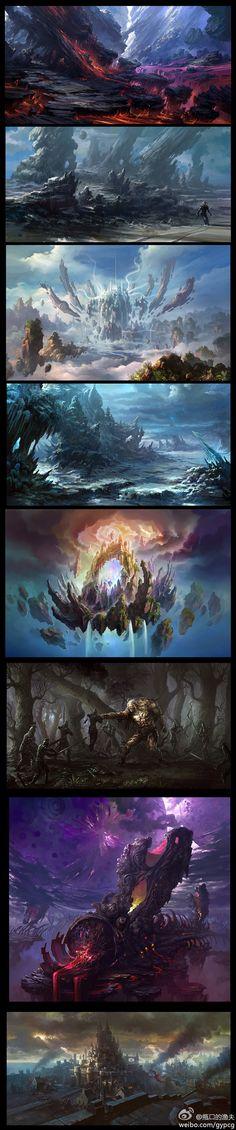51 Ideas For Concept Art Nature Earth Landscape Concept, Fantasy Landscape, Landscape Art, Fantasy Concept Art, Fantasy Artwork, Environment Concept Art, Environment Design, Fantasy Places, Fantasy World