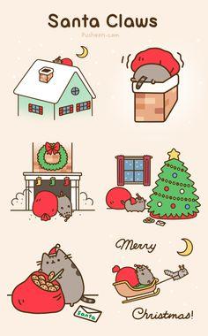 Gato Pusheen, Pusheen Love, Pusheen Stuff, Pusheen Christmas, Christmas Cats, Merry Christmas, Xmas, Funny Christmas, Kawaii Drawings