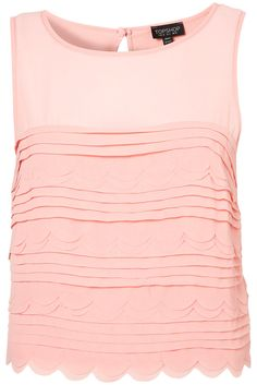 PLEATED SCALLOP CROP SHELL TOP by TOP SHOP
