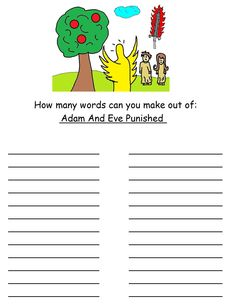 Adam and Eve word in word activity sheet for kids.