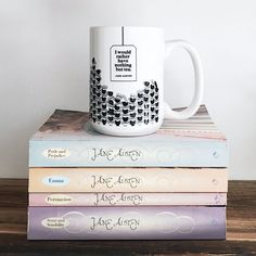 I WOULD RATHER HAVE NOTHING BUT TEA. - JANE AUSTEN  Zing! Take that coffee drinkers.  This extra large mug satisfies even the most robust tea cravings. Great for literature lovers, Austen lovers and design lovers alike. LARGE, 15 OZ. WHITE CERAMIC MUG PRINTED IN THE UNITED STATES DISHWASHER SAFE