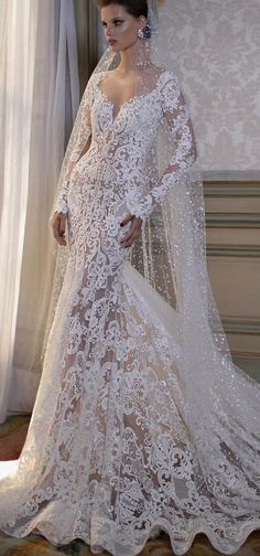 Amazing New Style Wedding Dress,Lace Mermaid Bridal Dress,Long Sleeves Wedding Dress with Shining Beadings