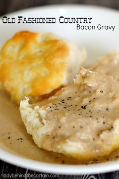 I grew up eating this delicious Old Fashioned Country Bacon Gravy. I remember my grandma making it even for dinner with fried potatoes and boiled beans.