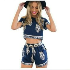 """Last • The Lucy Vintage Leaf Boho Set Stunning 2 piece crop top and short set. Top has a back zipper which makes it easier access. Shorts have an elastic waist.  Runs 1 size smaller. I am a 34D/34C, size 2 in pants and I'm modeling the medium.   0 small - tag reads 1 size bigger 1 medium- bust 34"""", top length 16"""", shorts stretches from 28"""" to 31"""" (tag reads large) 1 large- tag reads xl Tops Crop Tops"""