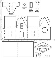 Little Glitter Houses Pattern   You may print the structure pattern on any sort of paper, since you're ...: