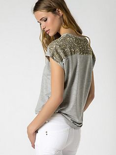 Buy Top in jersey fabric with sequins, 'V' neck, comfort fit, with micro-sequins