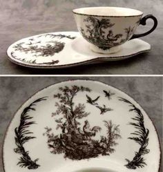 black & white french country toile tea & toast set ~ $16.99