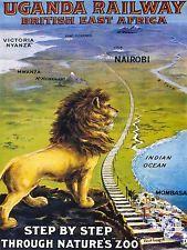 TRAVEL UGANDA RAIL AFRICA LION TRAIN KILIMANJARO VINTAGE POSTER ART PRINT 1059PY