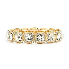 Gold Stretch Bracelet with Clear Crystals (available in 7 colors)