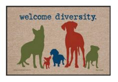Dog Lover Door Mat Welcome Diversity Canine Pets   Ebay Seller; richjil
