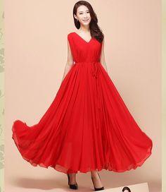 Red V Neck Wedding Dress Lightweight Sundress Plus Size by LYDRESS, $55.00