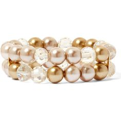 Vieste Glass Pearl and Crystal Stretch Bracelet ($12) ❤ liked on Polyvore featuring jewelry, bracelets, crystal bangle, pearl jewelry, pearl jewellery, crystal jewelry and glass bangles