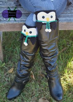 Peeping Penguin Boot Cuffs crochet pattern from Blackstone Designs #crochet #penguins #fashion #style #Christmas #bootcuffs