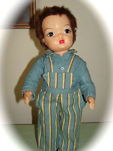 VINTAGE TAGGED TERRI LEE STRIPED OVERALLS & SHIRT/JERRI LEE/TERRI LEE DOLL