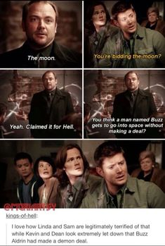 If you don't watch Supernatural, you wouldn't know about all this very important information. Supernatural Series, Supernatural Destiel, Castiel, Buzz Lightyear, Misha Collins, Dean Winchester, Jensen Ackles, Netflix, Buzz Aldrin