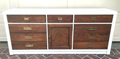 Furniture Refinishing - White & Wood Dresser with Brass handles Los Angeles, CA (San Fernando Valley)