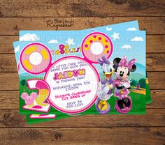 Minnie/Daisy Toodles Invitation Daisy Party, Custom Birthday Invitations, Minnie Mouse Party, All Design, Amazing Cakes, Rsvp, Party Ideas, Handmade Gifts, Fun