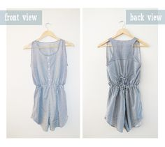 Cute diy! I see rompers everywhere in stores right now. DIY romper from a men