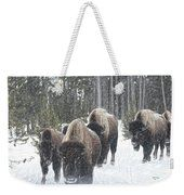 Buffalo Herd Emerges From The Snowy Yellowstone Mist Weekender Tote Bag by Bill And Deb Hayes