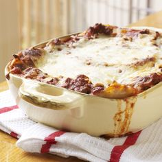 Extra-Easy Lasagna | When we say easy, we mean easy. You don't even have to cook the noodles for this speedy yet impressive lasagna that always gets rave reviews. Lasagna is a family favorite, but this version is extra-special because it only requires 5 quick ingredients: ground beef, pasta sauce, lasagna noodles, ricotta cheese, and shredded mozzarella (we don't count the water!). It's rated 5 stars for a reason. Pro tip: Make a double batch: Enjoy one now and freeze one for a quick meal on…
