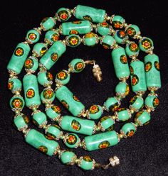 Venetian Murano Glass Bead Necklace Green Long Tubes Millefiori Italian 28 in #Unbranded #StrandString