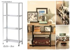 Hyllis shelves from Ikea get a upgraded Restoration Hardware/Pottery Barn-ish…