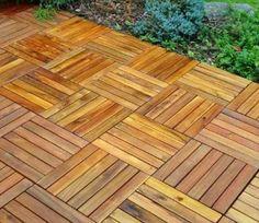 "Amazon.com: 12"" x 12"" Patio & Garden 6 Slat Acacia Hardwood Interlocking Deck Tile: Furniture & Decor"