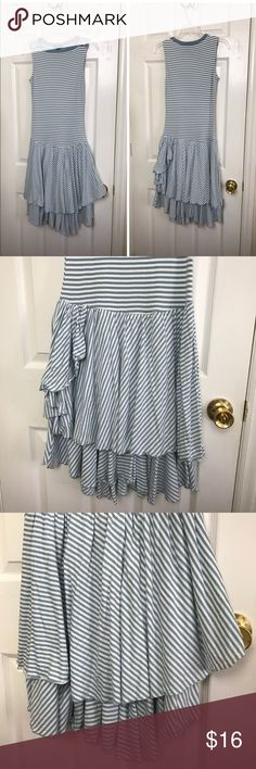 LRL Ralph Lauren Summer Dress Lauren Ralph Lauren sleeveless summer dress. Boatneck with shoulder buttons detail. Light blue and white stripes. Drop waist with double ruffled tiers. Flirty side ruffle. 100% Cotton. Very soft and comfortable to wear. Lauren Ralph Lauren Dresses