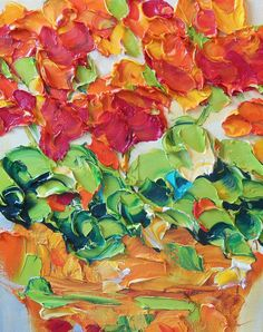 Oil Painting flower pot of Bright Red geraniums  8x10 VERY wide edge canvas    technique with brush and palette knife. Why buy a giclee or print