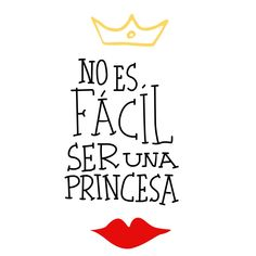 Spanish Quotes Wall Decors Noes Facil Seruna Princesa Crown Red Lip Vinyl Art Mural Stickers for Girls Room