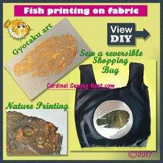 Nature printing; Japanese art Gyotaku of fish printing on fabric. Step by step tutorial on how to make your own fabric prints with fresh fish or other objects.