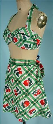 1970's (Retro 1940's) PLAIN JANE, San Francisco Apple Halter Cotton Print Play Suit $145 final sale