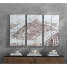 Pottery Barn Vintage Manhattan Triptych Wood (£270) ❤ liked on Polyvore featuring home, home decor, wall art, wooden wall art, brooklyn bridge wall art, wood home decor, wood wall art and pottery barn wall art