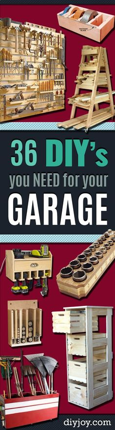 DIY Projects Your Garage Needs -Do It Yourself Garage Makeover Ideas Include Storage, Organization, Shelves, and Project Plans for Cool New Garage Decor diyjoy.com/...