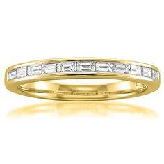 14k Yellow Gold Baguette Diamond Bridal Wedding Band Ring (1/2 cttw I-J VS2-SI1) Size 7