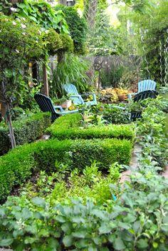 overlooking potager garden into patio area