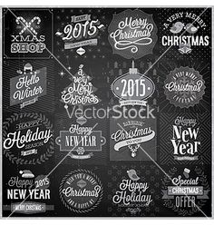 Christmas emblems set chalkboard vector - by aviany on VectorStock®