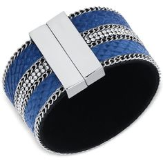 Guess Silver-Tone Blue Faux Suede Magnetic Wrap Cuff Bracelet ($30) ❤ liked on Polyvore featuring jewelry, bracelets, silver, silvertone jewelry, wrap cuff bracelet, hinged cuff bracelet, blue bangles and cuff bangle