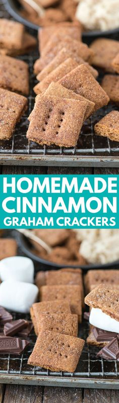 Homemade brown sugar cinnamon graham crackers that are packed with flavor and give store bought grahams a run for their money! Easily make these gluten free with GF all purpose flour! Cookie Desserts, Easy Desserts, Cookie Recipes, Delicious Desserts, Snack Mix Recipes, Dessert Recipes, Easy Homemade Snacks, Biscuits, Homemade Graham Crackers