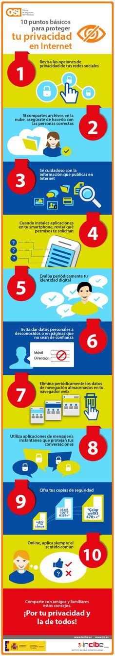 Fuente│OSI (Oficina de Seguridad del Internauta): 10 puntos básicos para proteger tu privacidad online los 365 días. @osiseguridad