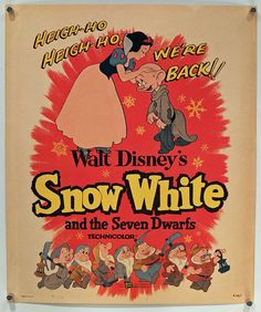 """Snow White and the Seven Dwarfs"", Window Card, Original Vintage Movie Poster R-1958"